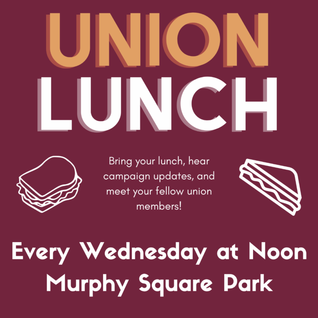 Union Lunch every Wednesday at Noon in Murphy Square Park